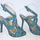 Pour la Victoire Turquoise Ankle Wrap Sandals Platform Snake Skin Design 7.5