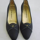 Helene Arpels Black Satin Pumps Evening Shoes Cut Out Sparking Piping Vintage 8A