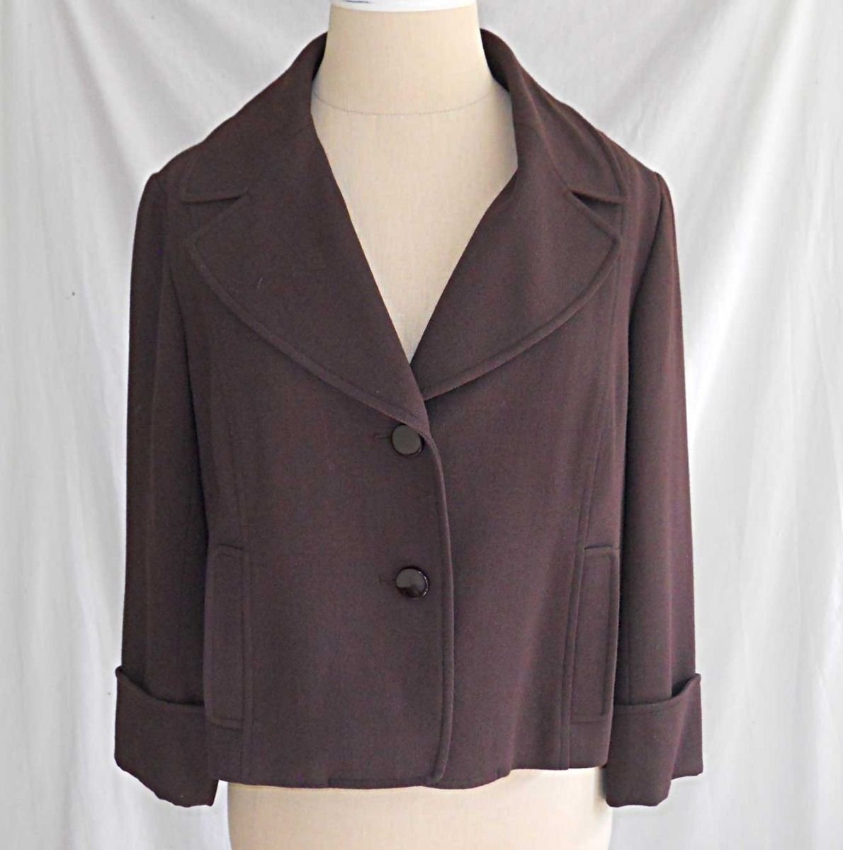 Badgley Mischka Jacket Vintage Deadstock Retro Crop Fitted Swing Nos Peak Lapel