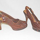 Antique Vintage 1940s Platform Peep Toe Slingback Brown Croc High Heel Shoe 7AA