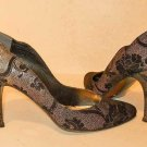 Stuart Weitzman Scalloped Leather Pumps LACE Pointy Brocade Suede Gold Shoes 10