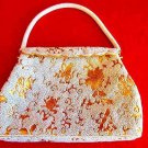 Vintage 50s Beaded NOS White Gold Structured Metallic Top Handle Evening Bag