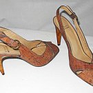 Stuart Weitzman Cork Sandals Peep Toe Slingback Bent Square Wood Heel Shoes 8.5M