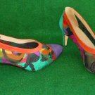 ColorBlock Vintage 60s Pazzo Embroidered Floral Mesh  Suede Cap Toe Pumps 5.5