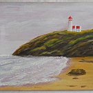 Folk Naive Outsider Primitive Vntage Painting Lighthouse Beach Marine  Sperling