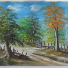 Original Painting Tropical Country Scene Wooded Landscape Ramon Rosario Vintage