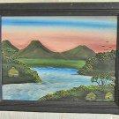 Fantasy Landscape Lost Tropical Village Vintage Original Oil Painting Gumede
