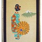 Vintage Needlepoint Japanese Geisha Back View Mt Fuji Gilded Faux Bamboo Frame