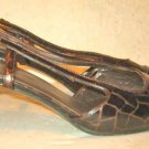 Stuart Weitzman Brown Sandals 7.5 Croc Effect Embossed Slingbacks Square Heel
