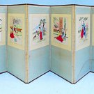 Vintage Korean Screen Room Divider Painting Needlework Romantic Scenes 6 Panel