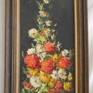 Original Vintage Painting Floral Botanical Flowers Lush Mums Daisy Brandes