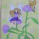 Folk Outsider Whimsical Original Painting  Winged Fairy Sits Thistle Butterfly