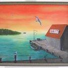 Folk Naive Realism Vintage Original Painting Bait House Shack End of World RB