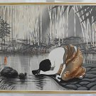 Erotic Japanese Geisha Vintage Oil Painting Washing Hair Bare Shoulders Signed