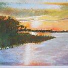 Folk Art Vintage Original Florida Painting Sunset Everglades Bay Egret Swamp HB