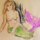 Nude Outsider Folk Vintage Painting Bare Chested Mermaid Purcell Watercolor