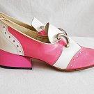 Color Block Vintage 60s Deadstock Pink White Loafers Mocs Gaymode Sloping Heel