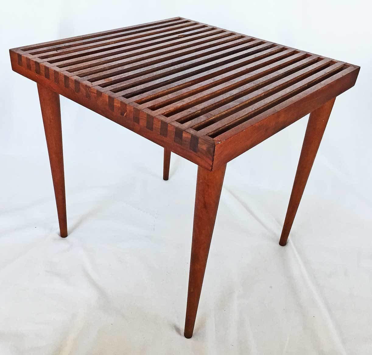 Mid Century Modern Original Vintage Slat Top Table Wood Side Coffee Smilow Mod