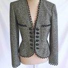 Valentino Boutique Jacket Deadstock Gray Black Tweed Peplum Back Embellished 6