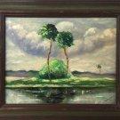 Folk Art Vintage Original Modernist Painting Florida Everglades Hammock Ferraro