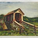Folk Art Naive Vintage Original Painting Country Covered Bridge Architectural