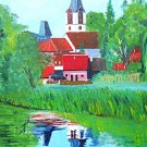 Vintage Folk Architectural Painting Village Houses Spire Reflected In River