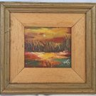 Southern Folk Art Original Vintage Painting Sea of Grass Everglades Swamp Walli