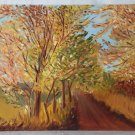 Folk Art Modernist Southern Vintage Original Painting North Carolina Autumn