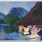 Folk Art Naive Vintage Original Painting Oregon Inlet Fishing Boat Fleet Marine