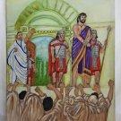 Folk Art Outsider Naive Original Painting Roman Slave Auction Bound Male  LVG