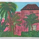 Naive Folk Art Vintage Original Painting Hot Pink Tropical House Architectural