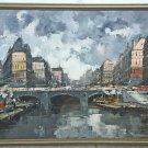 Vintage Modernist Original Painting Paris France Bridge Seine Boats Architecture