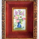 Antique Vintage Original Painting Floral Roses Lilacs Anemomes Naive Regency