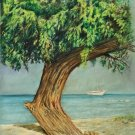 Tropical Marine Original Painting Yacht Giant Tree Beach Watercolor De Pasquale