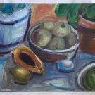 Folk Art Vintage Original Painting Tropical Fruits Still Life Papaya Mango Bowls