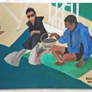Folk Street Art Original Painting Two Dudes Feeding Dolphins Abdiel Savannah GA