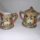 Japanese Moriage Immortals Antique Hand Sugar Creamer Set Hand Painted Incised