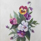 Pansy Floral Vintage Folk Art Naive Original Painting Flower Purple Hanses