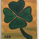Vintage Folk Art Outsider Original Painting Green Four Leaf Clover Luck  G.R.N.