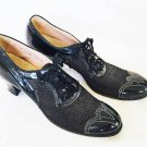 Antique Vintage 1940s Mesh Oxford Pumps Shoe Lace Up Cap Toe Davart Block Heel 9