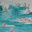 Vintage Original Painting Surfing Long Board 60s California Marshall Mid Century