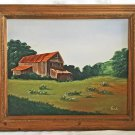 Naive Folk Art Vintage Original Painting Primitive Country Barn Rural Landscape