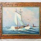 Florida Folk Art Marine Original Painting Gordon Bachelor Vintage Schooner Retro