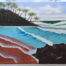 Original Folk Art Naive Outsider Painting Breaking Surf Tropical Palm Trees Wild