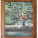 Folk Naive Vintage Painting Fishing Farm Boy Hand Lining River Landscape V Green
