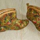 Boots Vintage 60s Go Go Floral Curved Booties Metallic Print Brocade Mid Century