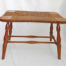 Vintage Stool Rush Seat Bench Country Colonial Style Primitive Old Surface