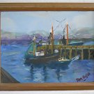 Marine Fishing Folk Naive Original Painting Work Boats Pacific Northwest Sallni