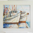 Vintage Original Painting Watercolor Kingfish Shrimp Boat Fishing Trawler Dunlop