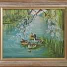 Naive Vintage Original Painting Ducks Ornithology Birds Pond Romantic  Mitchell